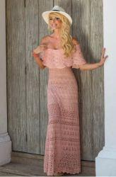 Vestido Longo De Tricô Rosê