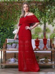 Vestido Longo De Tricô Vermelho