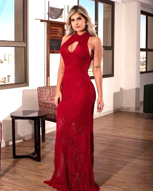 9d9f3e07ecca Passarella Brasil - Vestido Longo Tricô Vermelho Sereia