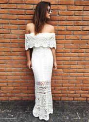 Vestido Longo Tricô Crochê Branco