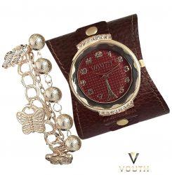 Relógio Feminino Com Bracelete de Couro